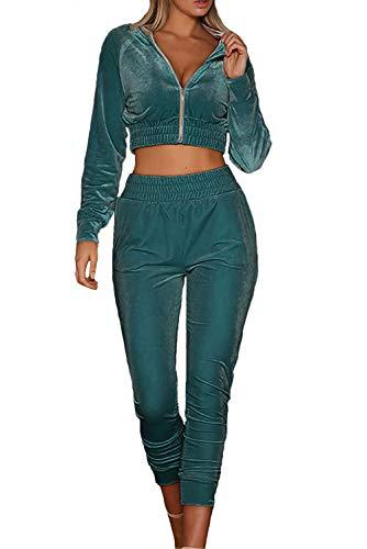 MAGIMODAC Chandal Chaquetas Pantalones Deportivas Chándal Mujer de Terciopelo Pantalones de Cintura Alta Dos Piezas (verde, numeric_32)