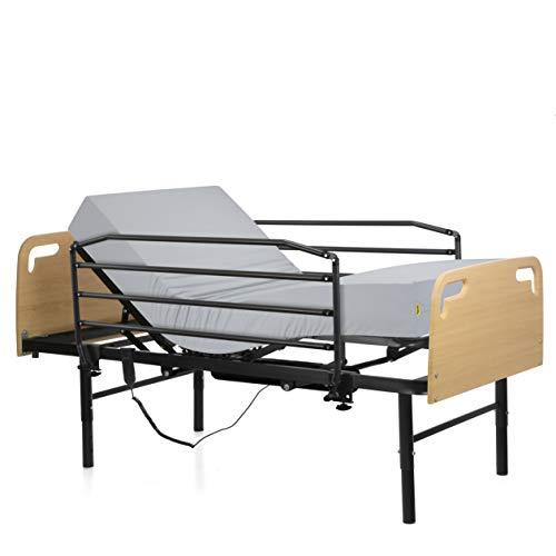 Ferlex - Cama articulada eléctrica geriátrica hospitalaria con Patas Regulables | Cabecero y Piecero | Colchón Sanitario viscoelástico | Barandillas abatibles (90x190)