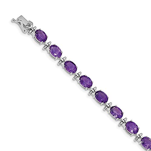 14k White Gold Purple Amethyst Bracelet 7 Inch Gemstone Bm Fine Jewellery For Women Gifts For Her
