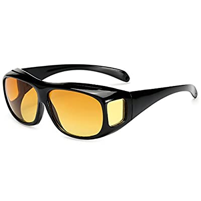 Polarized Night Vision Drving Goggles Fit Over Prescription Glasses Wrap Arounds Sunglasses Yellow Lens