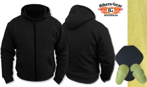 Womens Ladies Motorcycle Hoody Hoodie Fully Lined with Dupont Kevlar Aramid Fibres & CE Armour Jacket (UK 12 EU 40, Black)