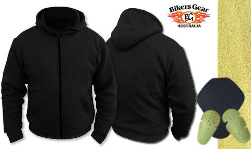 Womens Ladies Motorcycle Hoody Hoodie Fully Lined with Dupont Kevlar Aramid Fibres & CE Armour Jacket (UK 12 EU 40, Black)