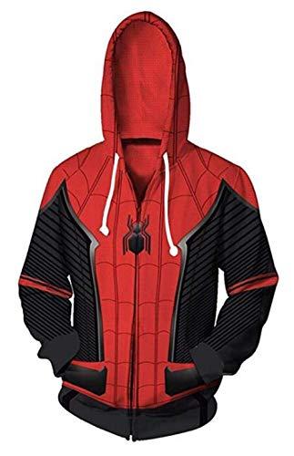 Unisex Superhero Jacket Kangaroo Pocket Halloween Cosplay Costume The Marvel Comics Spiderman Hoodies M Red