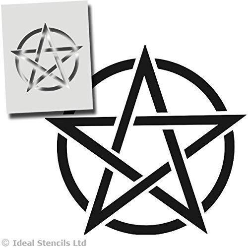 Pentagramm Stern, Pentagram, Hexerei Stern - Halloween Wanddekoration, Kunst Handwerk Malerei Druck - Farbe Wände Stoffe Möbel - Wiederverwendbar Waschbar - XS/ 11X11CM