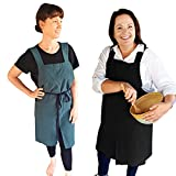 Mothers Day Gifts Apron: Cross back Apron Plus Size for Women 3x with Pockets for Baking Cooking Gardening Work- Black