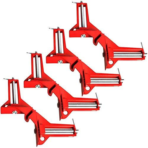 SchweißEn - Juego de 4 abrazaderas de ángulo de 90 grados para trabajos de madera, herramientas de mano de aleación de aluminio
