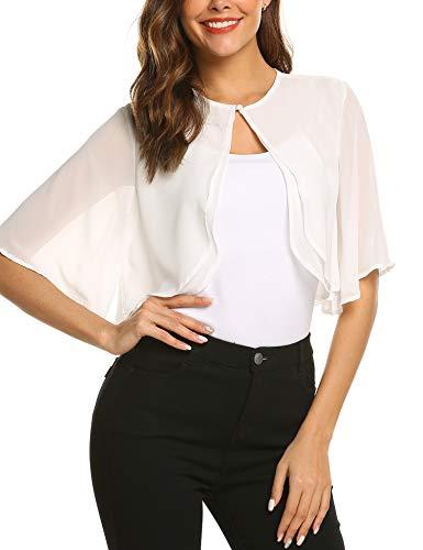 SoTeer Women Summer Cardigans Chiffon Loose Bolero Shrug Short Sleeve Sheer Shrug for Dresses, White, S