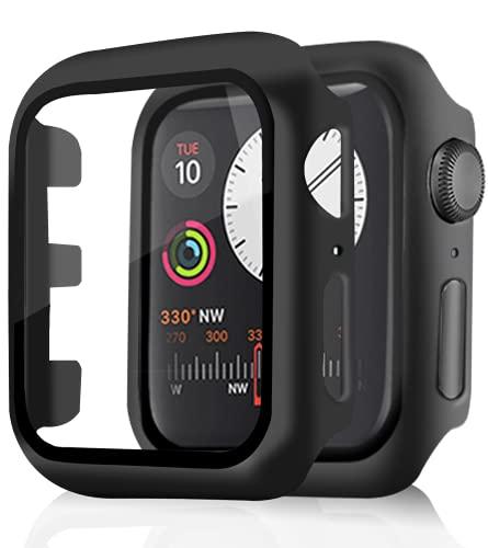 Pocoukate [2 Pezzi] Cover con Vetro Temperato adatto per Apple Watch 38mm Serie 3/Series 2/1, Pellicola Protezione Apple Watch 38mm, Rigida+HD+Bubble-Free Copertura Completa Schermo Protezione