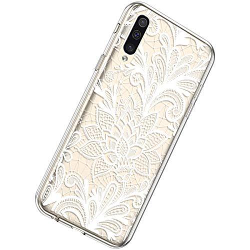 Herbests Kompatibel mit Samsung Galaxy A70 Hülle Silikon Weich TPU Handyhülle Durchsichtige Schutzhülle Niedlich Muster Transparent Ultradünn Kristall Klar Handyhülle,Weiße Rose