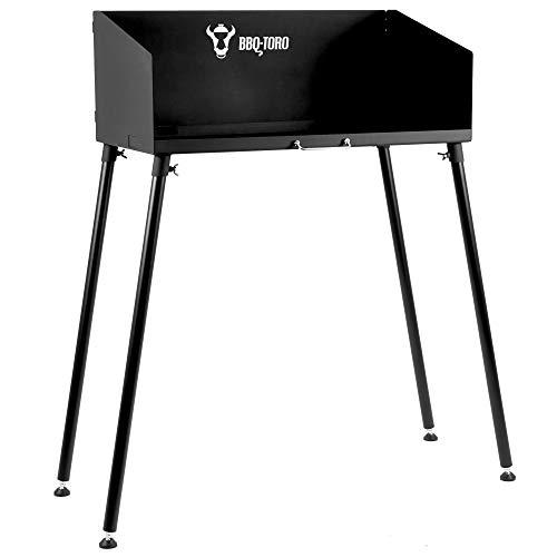 BBQ-Toro Dutch Oven Tisch I 75 x 40 cm I schwarz I Stahltisch für Bräter und Grillzubehör I Grilltisch mit einstellbaren Füßen