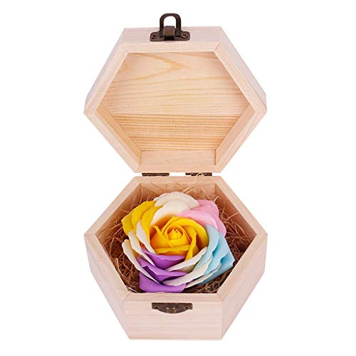 FENGLI Soap Flower Rose Gift, Colourful Rose in Wooden Hexagon Shape Box, Idea Valentines Day Mothers Day, Anniversary, Birthday Decoration, Engagement,Wedding, Party (Color : Yellow)