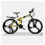 Frenos De Disco De Bicicleta De Montaña Plegables De 26 Pulgadas Bicicletas De 21-27 Velocidades, Ruedas De 3 Radios Bicicleta De Suspensión Completa De Acero De Alto Carbono MTBYellow-24 Speed