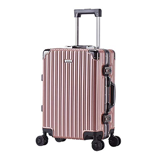 HANQING Aluminum frame trolley suitcase, travel luggage, universal wheel luggage, ultra-light cabin,Gold-51 cm x 35 cm x 22 cm