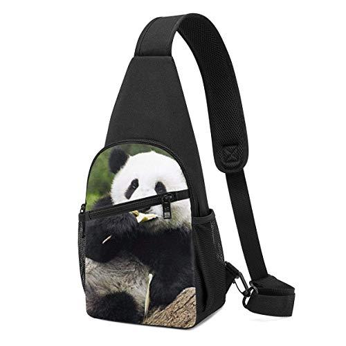 Hui-Shop Mochila Honda para Hombres y Mujeres - Pandas Bear Diet Casual Mochila pequeña de Hombro en el Pecho Mochila Bandoleras