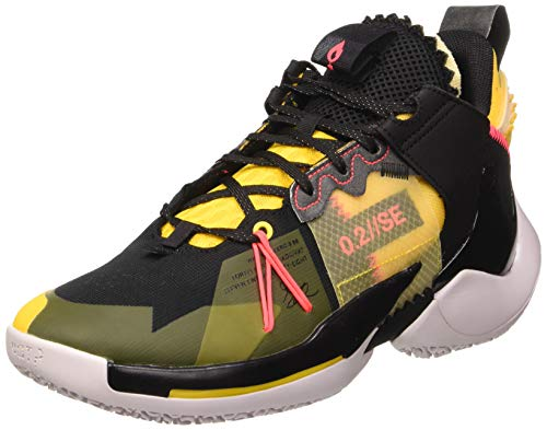 Jordan Why Not Zer0.2 Se, Zapatillas de Baloncesto para Hombre, Black/Flash Crimson/Amarillo/Vast Grey, 42 EU