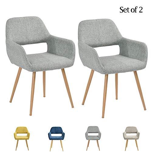 FurnitureR Juego de 2 sillas de Comedor con Brazos Sillas de cojín de Tela con Patas de Metal…