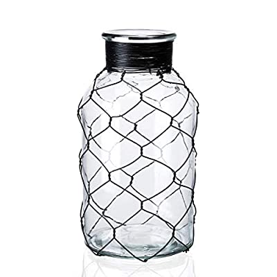 "Diamond Star Decorative Glass Vase Chicken Wire Wrap Flower Vase for Home Decor (4"" X 8"")"