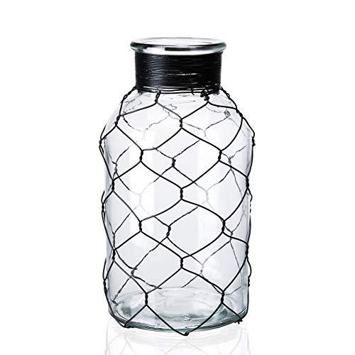 Diamond Star Decorative Glass Vase Chicken Wire Wrap Flower Vase for Home Decor (4  X 8 )