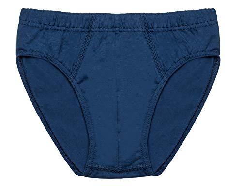 HIKARO, Jungen Slip 3er Pack, Rundhals, Single Jersey; Reine Bio Baumwolle/Elastan GOTS Zertifiziert, Made in Europe, Größe:152, Farbe:Dark Blue