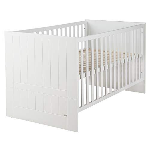 roba Kombi-Kinderbett Mia, 70x140cm, 3-fach höhenverstellbar, Flachstäbe mit 3 Schlupfsprossen, umbaubar zum Juniorbett