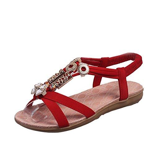Meilleure Vente!Sandales Dames Fashion Women Boho Sandals Leather Flat Sandals Ladies Shoes Rouge /36 by LuckyGirls