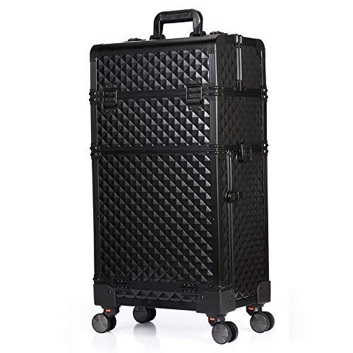 TONGSH Valigetta da Trucco in Alluminio for Trucco cosmetico - Ruote da 360 Gradi Carrello da Viaggio con Custodia da Barbiere con divisore Rimovibile (Color : Black)