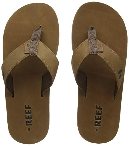 Reef Men's Sandals Leather Smoothy | Classic Leather Beach Flip Flop with Woven Strap and Arch Support, Bronze Brown, 12