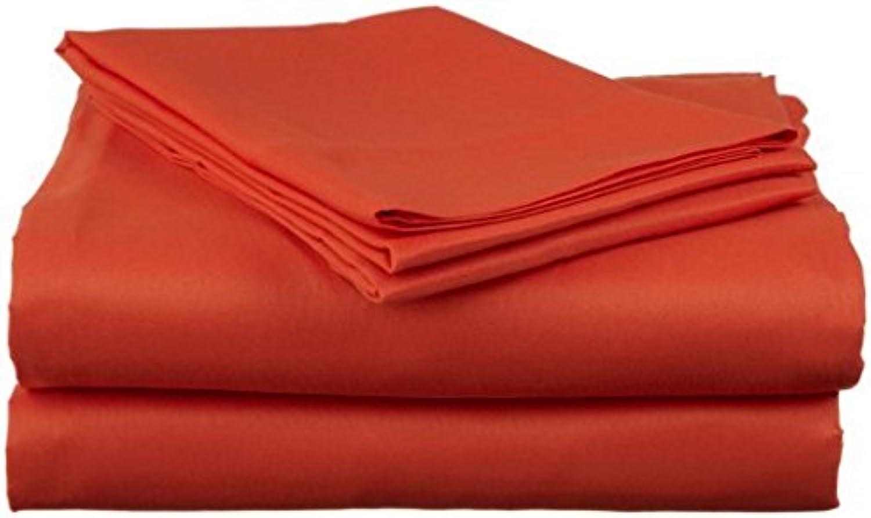 Dreamz Bedding Simple Ply- Lit en Coton égypcravaten de lit 53,3cm Poche Profonde suppléHommestaire Euro Petite Taille Unique, Orange, Solide, Scala 100% Coton Parure de lit