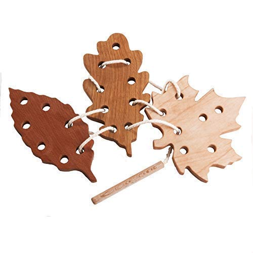 Wooden leaf fall Lacing Toy Game set Learning toy Threading set