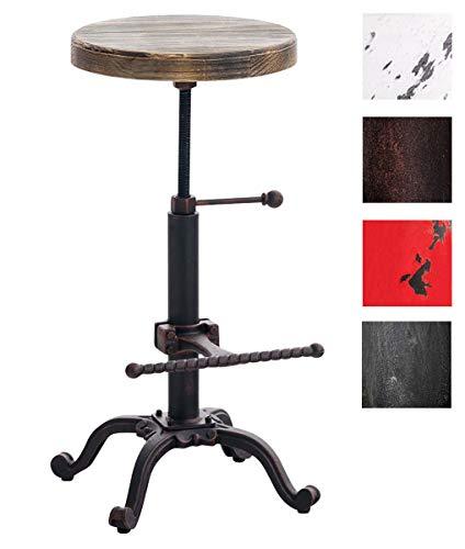 CLP Barhocker Carson im Industrial Look I Thekenhocker mit Holzsitz I Metallhocker mit Verstellbarer Fußstütze Bronze