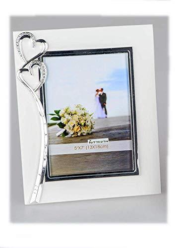 Fotorahmen 13x18cm Weiss mit Herzen weisses Metall dekorative Geschenke zur Hochzeit