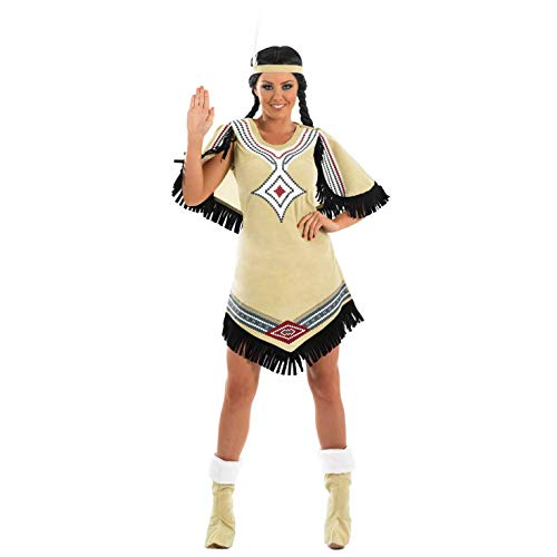 Indian Scout - Adult Fancy Dress kostuum, Vrouwen: 12-14, Womens Native American Beige Inheemse Amerikaan L Womens Native American Beige
