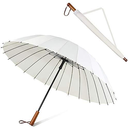 Lesrly-Cycle Antivento Ombrello, 24 Bone Extra Large Rinforzato Manico Lungo Umbrella, Cowgirl Golf Cart Ombrello, Antiscivolo in Legno per Manico Donne degli Uomini Alta, Viaggio di Lavoro,Bianca