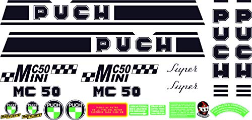 Kit de adhesivos motos clasicas Puch MINICROSS MC 50 Mini Super - Juego Pegatinas Completo - Vinilo para Moto, máxima Calidad.