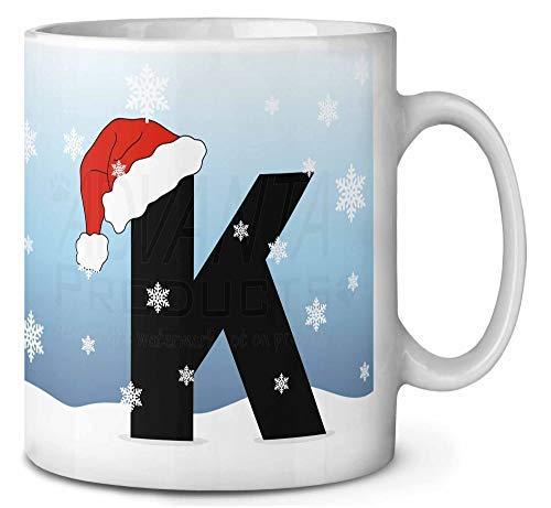 Brief K Het dragen van een Santas Hoed Koffie Thee Mok Kerstmis Stocking Filler Gift Idee