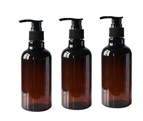 Nachfüllbare leere PET-Pump-Flaschen für Shampoo, Duschgel, Behälter mit schwarzen Pumpen für Make-up, Kosmetik, Bad, Dusche, Toilette, Flüssigkeitsbehälter, 3 x 250 ml