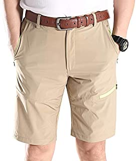 Elonglin Men's Summer Cargo Shorts Casual Combat Outdoor Lightweight Quick-Dry Work Shorts Belt Not Included Khaki