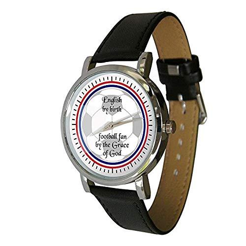 Your Watch Design Unisex Uhr. Erwachsenengröße. Analog Quarz mit Leder Armband, English Football