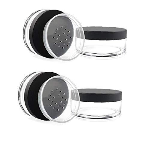 2pcs Poudre Récipient Avec Vis Couvercles Cosmétique Vide Pot En Plastique Pour Les Cosmétiques Sifter