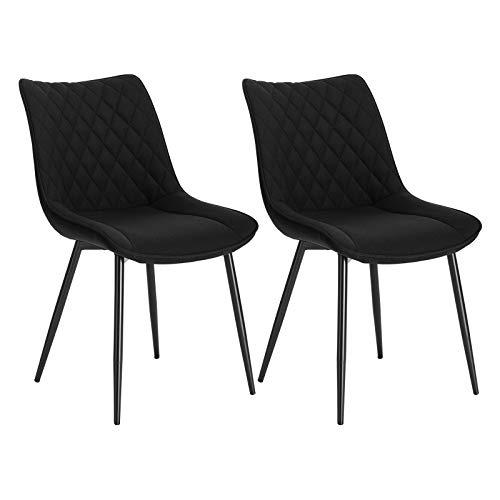 WOLTU® Esszimmerstühle BH208sz-2 2er Set Küchenstuhl Polsterstuhl Wohnzimmerstuhl Sessel mit Rückenlehne, Sitzfläche aus Leinen, Metallbeine, Schwarz