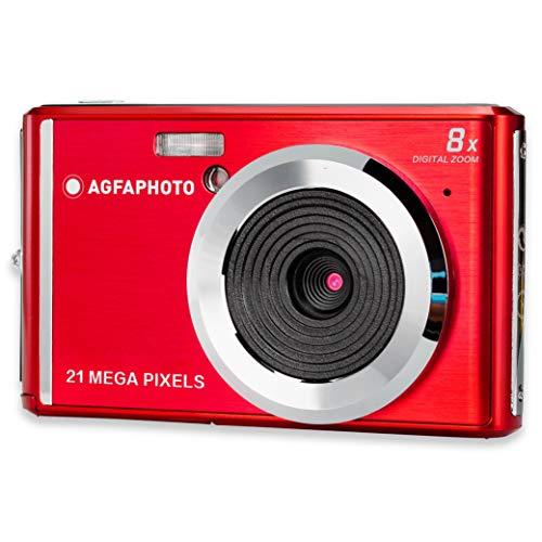 AGFA Photo - Cámara Digital compacta con Sensor CMOS de 21 megapíxeles, Zoom Digital de 8X y Pantalla LCD, Color Rojo