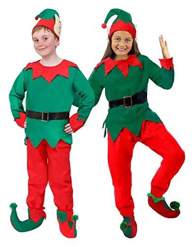 Barnens unisex jultema fin klänning kostym kostym pojkar / flickor jultomten liten hjälm – barn grön och röd topp, matchande byxor, hatt, svart bälte och elf stövlar/skoskydd – stor