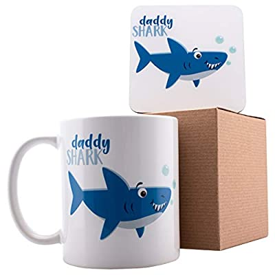 "Personalized Shark Family Daddy Shark Coffee Mugs - 11oz Ceramic Mugs - Birthday Gifts, Mother""s Day Gifts, Fathers Day Gifts, Christmas Gifts"