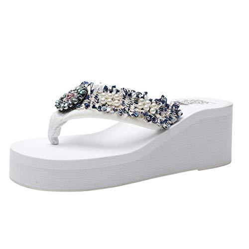 Deloito Damen Blumen Pantoletten Wedges Sandalen Bohemien Stil Flip Flops Mädchen Einfarbig Strasssteine Perle Hausschuhe Strandschuhe (Weiß,36 EU)
