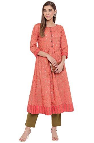 Janasya Indian Women's Peach Cotton Kurta(JNE3562-KR-S)