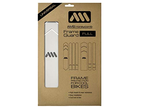 All Mountain Style AMSFG5CLSV Honeycomb High Impact Frame Guard Full - Protects Your Bike from Scratches and dings, Clear/Silver