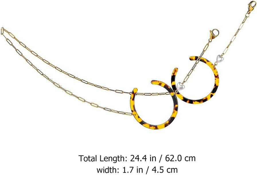Holibanna Eye Glasses String Holder Leopard Color Sunglasses Chain Acrylic Eyeglasses Strap Anti Slip Sunglasses Holder Eyewear Retainer Chain