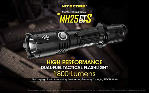 Nitecore Nitecore-MH25GTS-Wiederaufladbar USB-1800 Lumen und 304 Meter, Unisex-Taschenlampe, Schwarz, Einheitsgröße