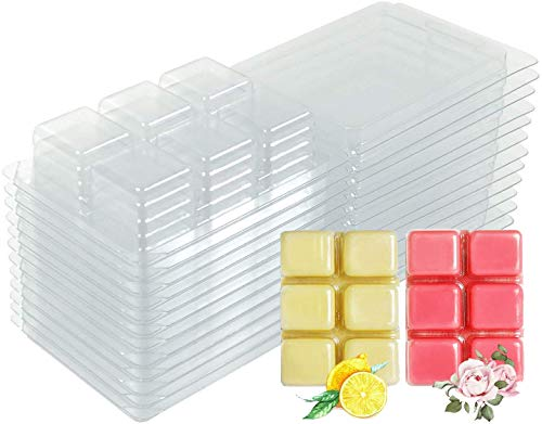 YYCH Wax Melt Molds - 100 Packs Clear Empty Plastic Wax Melt Clamshells for Wickless Wax Melt Candles