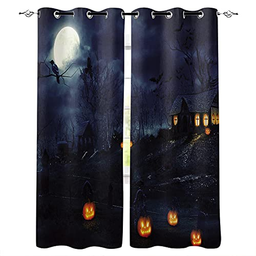 YUESUO Kids Bedroom Curtains Eyelet Blackout Curtains Halloween Pumpkin Head Dead Tree Witch Boys Girls Nursery Home Decor Window Curtains 2 Panels Thermal Insulated Energy Saving 3D Printing Pattern